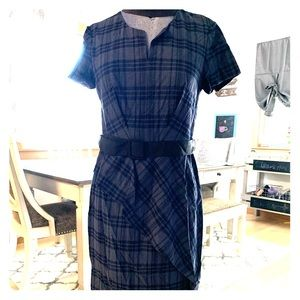 Banana Republic plaid peplum belted dress pretty!